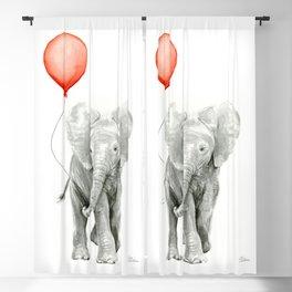 Baby Elephant Watercolor Red Balloon Nursery Decor Blackout Curtain
