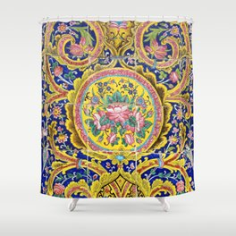 Floral Persian Tile Shower Curtain