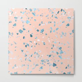 Turquoise Shimmery Terrazzo on Pink Metal Print