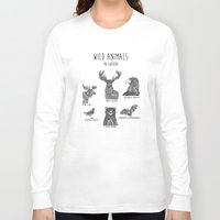 sweden Long Sleeve T-shirts featuring Wild animals in Sweden by Mikaela Puranen