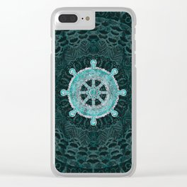 Dharma Wheel - Dharmachakra Silver and turquoise Clear iPhone Case