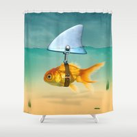 volkswagen Shower Curtains featuring gold fish by mark ashkenazi