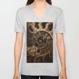 Earth treasures - Fossil in brown tones Unisex V-Neck