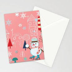 winter fun pink Stationery Cards