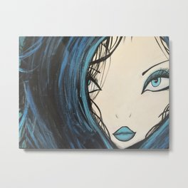 Blue and Black Hair Girl Mermaid Painting by Jodi Tomer. Figurative Abstract Pop Art. Metal Print