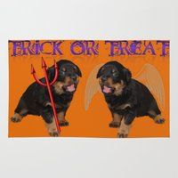 rottweiler Area & Throw Rugs featuring Cute Rottweiler Halloween Trick or Treat Greeting  by taiche