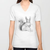 squirrel V-neck T-shirts featuring Squirrel by Ora Kolmanovsky