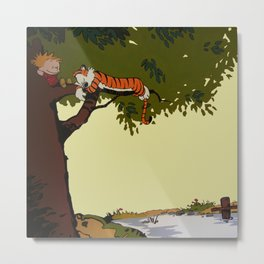 Calvin and Hobbes Metal Print