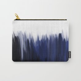 Modern blue cobalt black oil paint brushstrokes abstract Carry-All Pouch