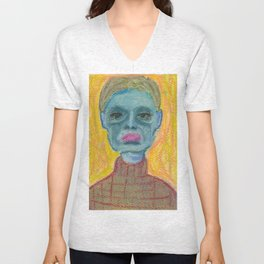 Blue face Unisex V-Neck