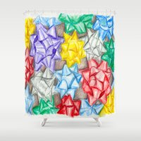 bows Shower Curtains featuring Bows by Lady Tanya bleudragon