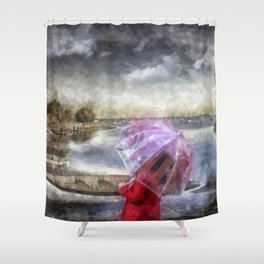 The Girl in Red Coat Shower Curtain