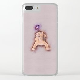 Staffordshire terrier Puppy with Butterfly Clear iPhone Case