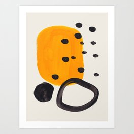 Unique Abstract Unique Mid century Modern Yellow Mustard Black Ring Dots Art Print