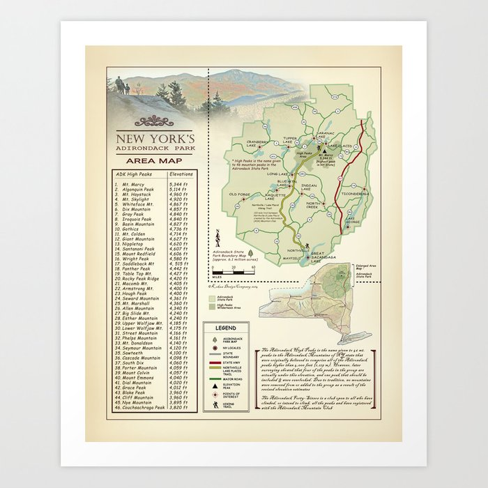 photograph regarding Printable Maps of New York State named Clean York Nation Adirondack/Large Peaks desk [traditional motivated] Map print Artwork Print through kokuadesigncompany