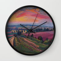 gore Wall Clocks featuring Spencer Gore - The Icknield Way by ArtMasters