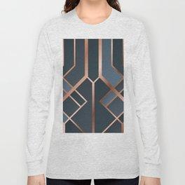 Dark Blue Art Deco Long Sleeve T-shirt