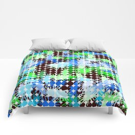 Blue, Green and Black Paint Splatter  Comforters