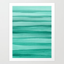 Green Watercolor Lines Pattern Art Print