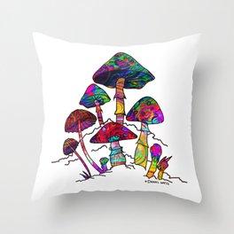 Garden of Magic Mushrooms Throw Pillow