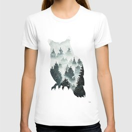 Owl in the Forest Double Exposure Painting T-shirt