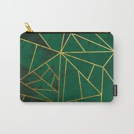 Emerald Green Modern Geometric Gold Lines Carry-All Pouch