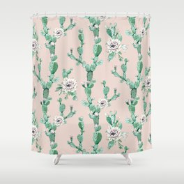 Green Coral Pink Cactus Rose Pattern Shower Curtain
