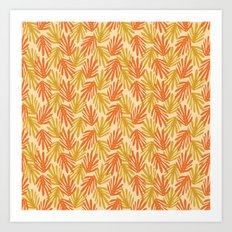 Scattered Leaves on Beige Art Print