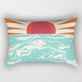 Keepin' It Real - retro 70s vibes throwback ocean sunset sunrise socal surfing beach life 1970's Rectangular Pillow