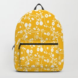 Amber Yellow Floral Pattern Backpack