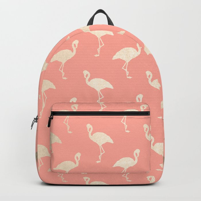 Gold Flamingo Pattern Coral Pink Backpack