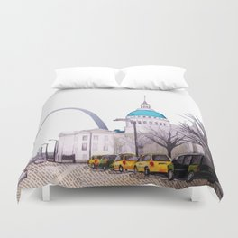 St. Louis Arch with cabs Duvet Cover