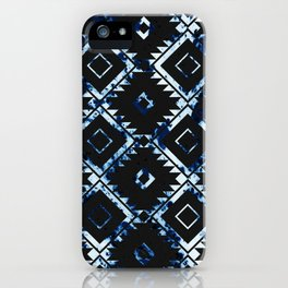 Ethnic Indigo Pattern on Black iPhone Case