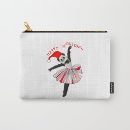 Happy Holidays Secret Santa Panda Ballerina Carry-All Pouch