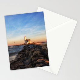 Marken Lighthouse at Sunset Stationery Cards