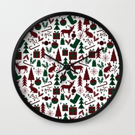 Plaid antler deer stocking christmas pudding christmas trees candy canes Wall Clock