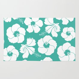 Hibiscus Flowers in Turquoise Blue Rug