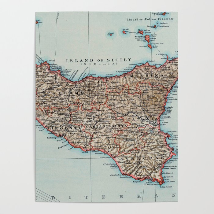 Vintage Map of Sicily Italy (1900) Poster by bravuramedia