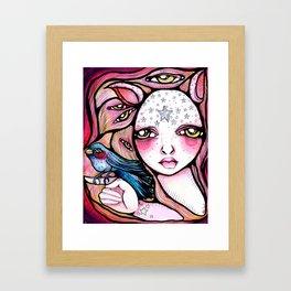 A Girl and Her Bird Framed Art Print