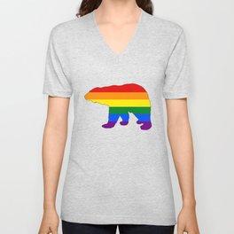 Rainbow Polar Bear Unisex V-Neck