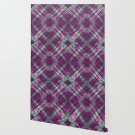Purple and Green Tie Dye Diamond Wallpaper