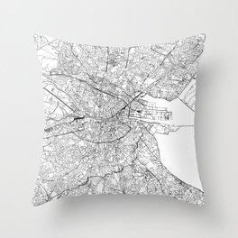 Dublin White Map Throw Pillow