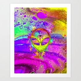 Alien Melt - yellow Art Print
