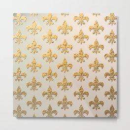Gold Metallic Fleur De Lis Stencils Metal Print