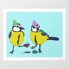 Blue tits drinking tea Art Print