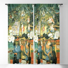 Diego Rivera Friday of Sorrows on the Canal Santa Anita, Mexico with Calla lilies landscape painting Blackout Curtain