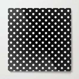 Polka Dot White On Black Metal Print