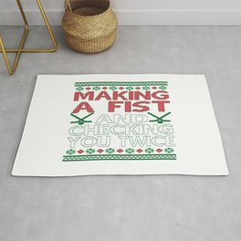 Making A Fist And Checking You Twice Rug