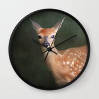fawn Wall Clocks featuring Fawn by Jai Johnson