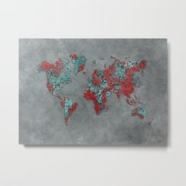 world map 84 grey Metal Print